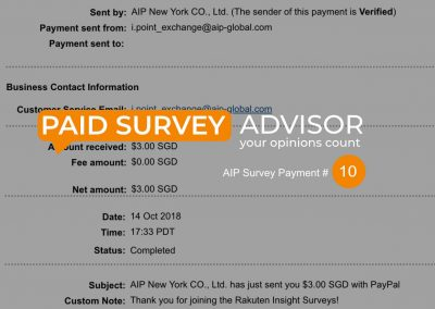 AIP Survey Payment #10