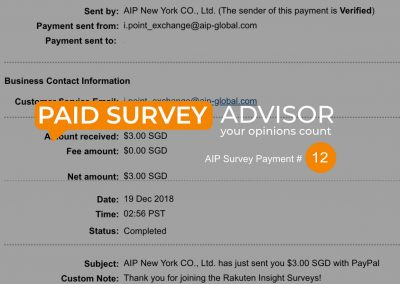 AIP Survey Payment #12