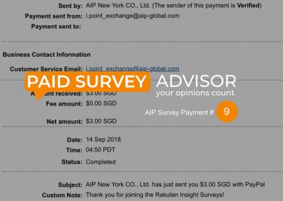 AIP Survey Payment #9